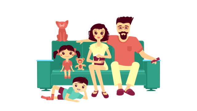 Cartoon Family Watching The TV video