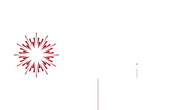 vídeos de stock e filmes b-roll de 4k cartoon firework animation |loopable - new year