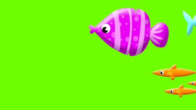 cartoon fishes on greenscreen - under the sea fish video stock e b–roll