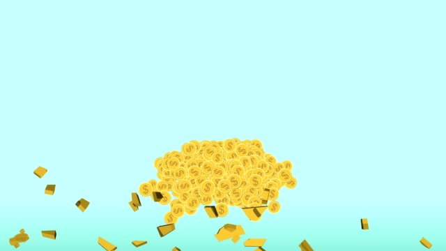 cartoon flat design animation golden piggy bank shatter with gold coin explode and lay on ground