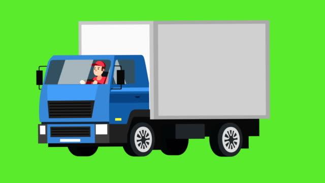 cartoon flach isoliert blau lkw-auto-animation mit mann charakter fahrer - drive illustration stock-videos und b-roll-filmmaterial