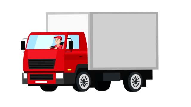 cartone animato piatto isolato camion rosso animazione auto con uomo personaggio autista - fumetto creazione artistica video stock e b–roll