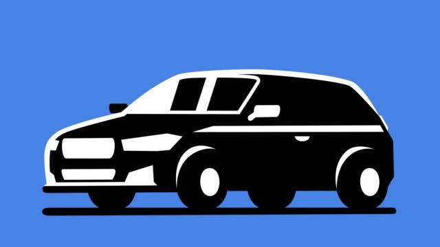 vidéos et rushes de cartoon silhouette d'isolement de route hors route suv car black and white icon animation - voiture blanche