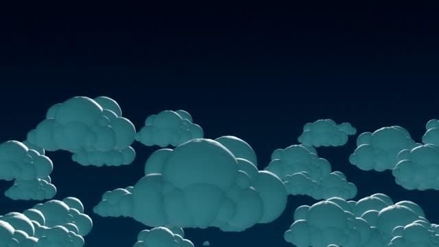 Cartoon flying clouds in the night sky. 3d animation with alpha-matte channel Cartoon flying clouds in the night sky. summer illustrations videos stock videos & royalty-free footage