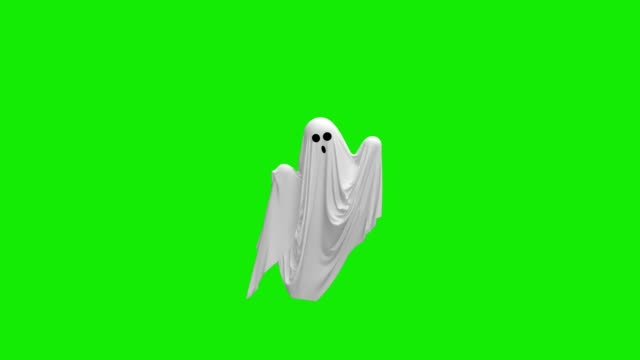 Cartoon Flying white Ghost on an green screen Cartoon Flying white Ghost on an green screen 4k ghost stock videos & royalty-free footage