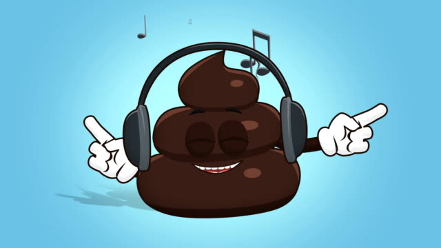 Cartoon Funny Brown Poop Turd Music with Face Animation Alpha Matte