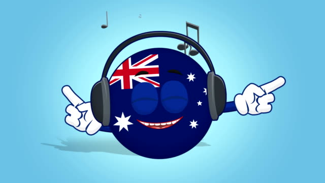 Cartoon Icon Flag Australia Music with Face Animation with Alpha Matte