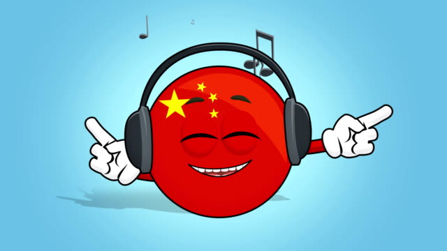 Cartoon Icon Flag China Music with Face Animation