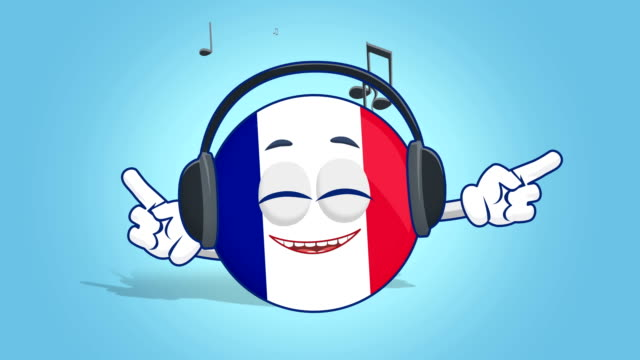 Cartoon Icon Flag France Listen Music with Face Animation with Alpha Matte