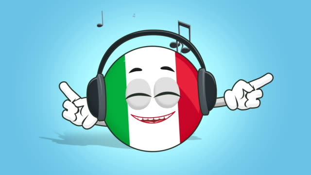 Cartoon Icon Flag Italy Music with Face Animation with Alpha Matte