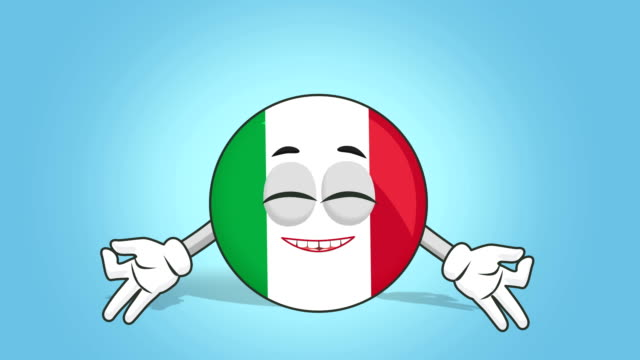 cartoon icon flag italien zen harmony mit face animation mit alpha matte - meditation icon stock-videos und b-roll-filmmaterial