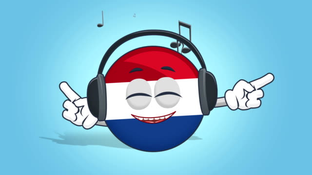 Cartoon Icon Flag Netherlands Holland Music with Face Animation with Alpha Matte