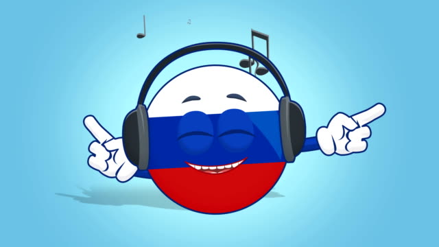 Cartoon Icon Flag Russia Music with Face Animation with Alpha Matte