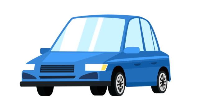cartoon isoliert eblue auto auto flache animation - drive illustration stock-videos und b-roll-filmmaterial