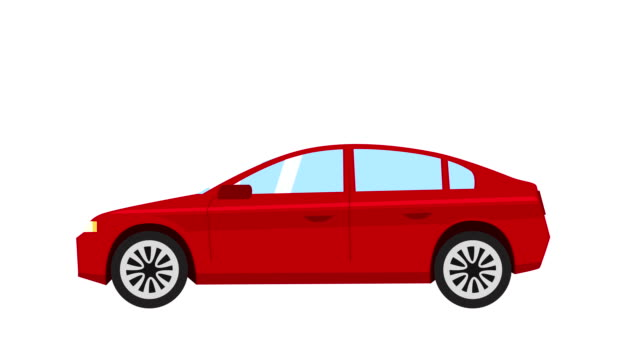 karikatur isolierte rote auto flache animation seitenansicht - drive illustration stock-videos und b-roll-filmmaterial