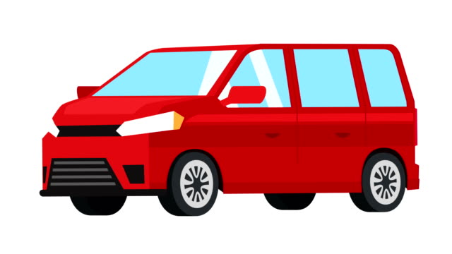 karikatur isolierte rote kleinbus-auto flache animation - drive illustration stock-videos und b-roll-filmmaterial