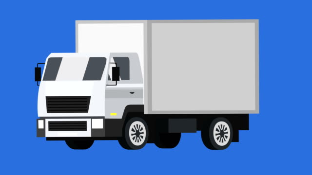 cartoon isolierte weiße lkw-auto flache animation - drive illustration stock-videos und b-roll-filmmaterial