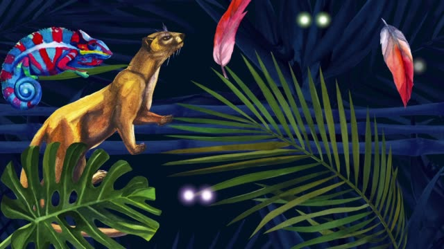 Cartoon Jungle Madagascar. Night and day in the rainforest. Flashing eyes of wild animals. Jungle Madagascar. Flashing eyes. Lemur and fossa. Palm leaf is moving