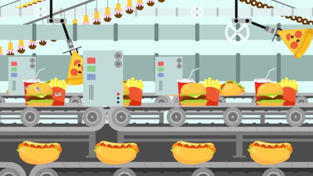 vídeos de stock, filmes e b-roll de desenhos animados junk food fábrica cheia com diferentes tipos de fast-food - junk food