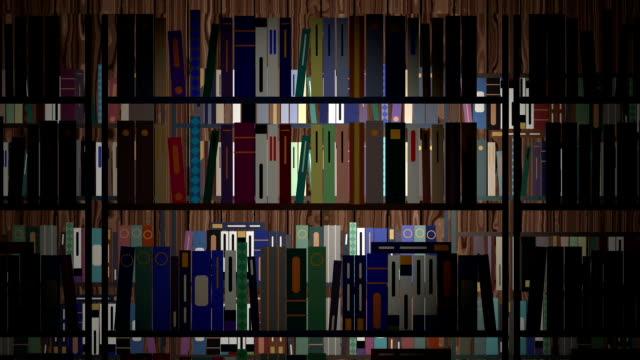 vídeos y material grabado en eventos de stock de biblioteca de dibujos animados repleto de libros y estantes para libros - biblioteca