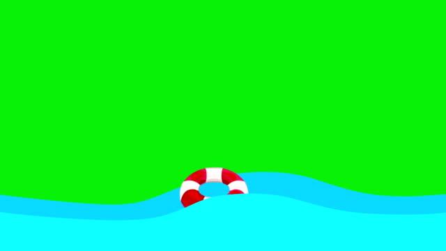vídeos de stock, filmes e b-roll de desenhos animados lifebuoy flutuando no mar em uma tela verde - boia salva vidas