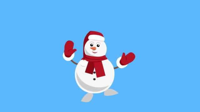 vídeos y material grabado en eventos de stock de dibujos animados little christmas snowman flat character music dance animation includes matte - snowman