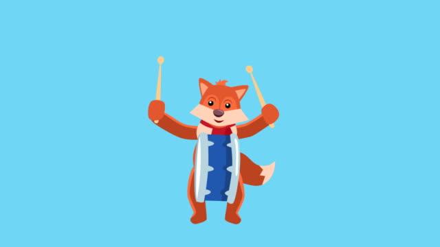 cartoon little fox flat christmas charakter musik drum animation enthält matt - fuchs stock-videos und b-roll-filmmaterial