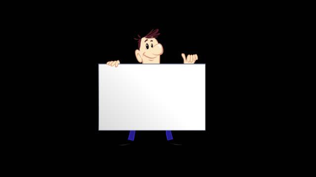 cartoon man holding blank board - animated video footage - коммерческий знак стоковые видео и кадры b-roll