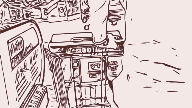 tecknade man promenader med kundvagn i varuhuset - animal doodle bildbanksvideor och videomaterial från bakom kulisserna
