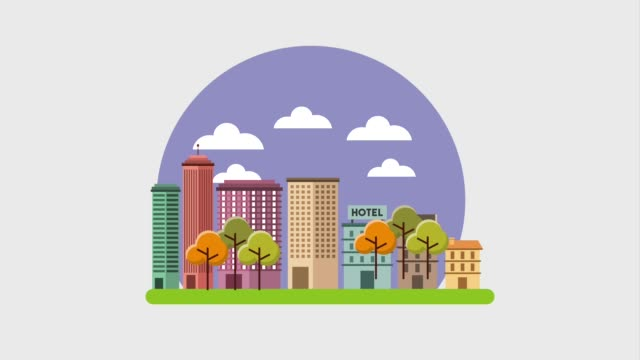 cartoon modern skyscrapers town hotel building tree landscape - clip art video stock e b–roll
