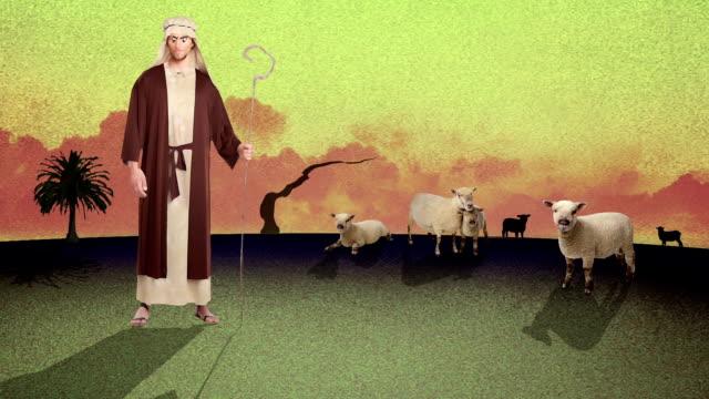 eine cartoon von ayoung biblischen hirte hüten schafe in der wüste - könig schachfigur stock-videos und b-roll-filmmaterial