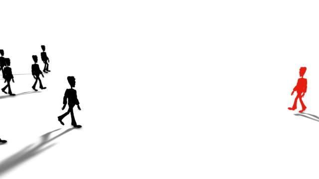 vídeos de stock, filmes e b-roll de cartoon vermelho pessoa caminhando contra a maré - contrastes