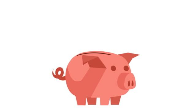 cartoon piggy bank und münzen fallen animation - flat design videos stock-videos und b-roll-filmmaterial
