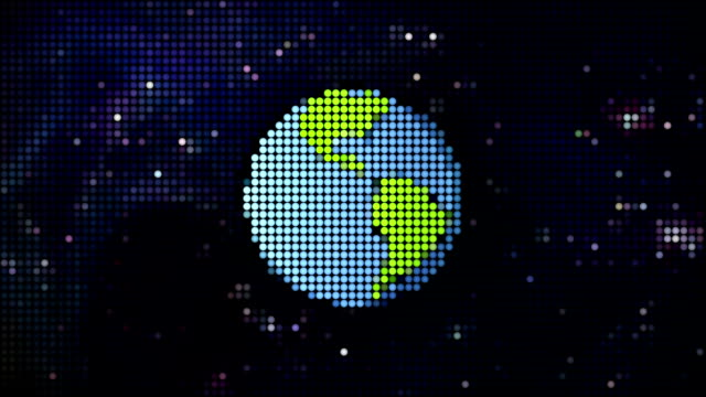 cartoon planet in space pixel style video
