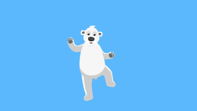 Cartoon Polar Bear Flat Character Music Dance Animation. Includes luma matte