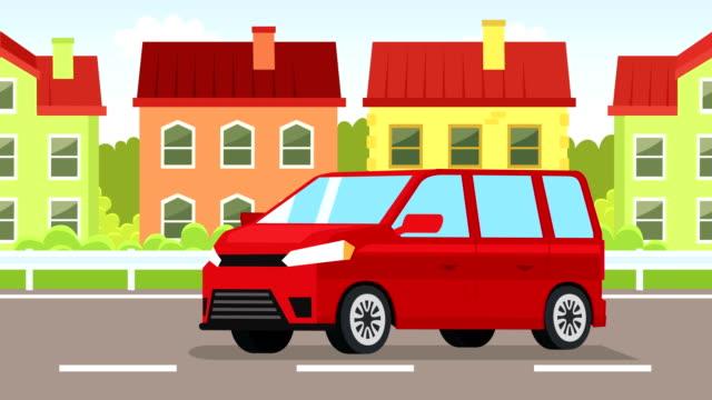 cartoon roten minibus flachen animation fahrtrickfahrten durch die stadt - van stock-videos und b-roll-filmmaterial