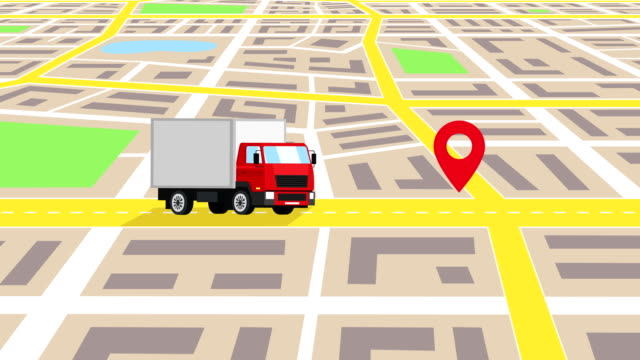 cartoon red truck car ride through the city map mit auto reparatur shop sign concept animation - drive illustration stock-videos und b-roll-filmmaterial