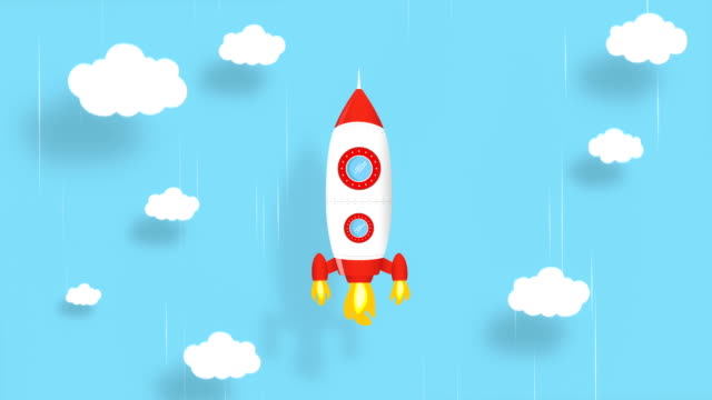 4K Cartoon rocket ship flying on blue background. Loopable Animation. Alpha Luma Matte included.