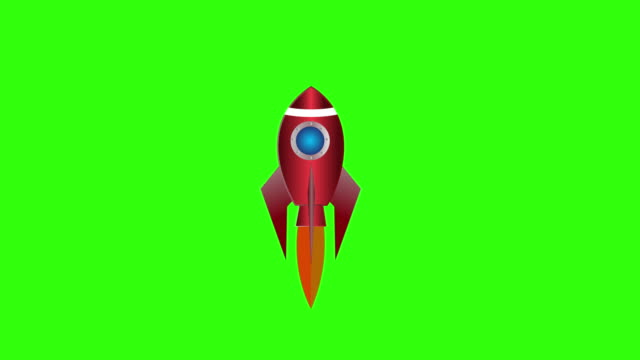 Cartoon rocket ship flying on Green Screen background. Isolated flash animation