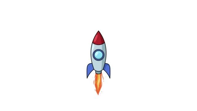 vídeos de stock, filmes e b-roll de desenhos animados foguete voar sobre fundo branco. animação plana isolada - ilustração e pintura