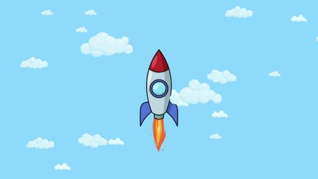 Cartoon rocket ship flying up through cloudy sky. Flat animation