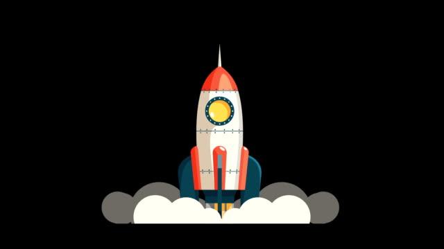 Cartoon rocket starts into space