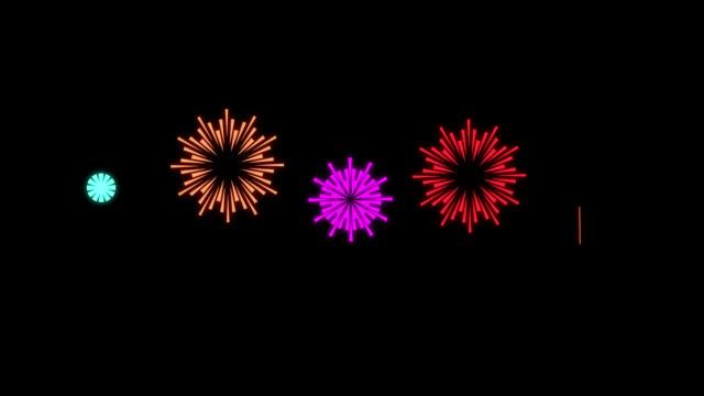 Cartoon Shape Style Fireworks - Animation of Fireworks - Multi color Multi Version