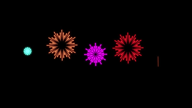 cartoon shape style fireworks - animation of fireworks - multi color multi version - petardo video stock e b–roll