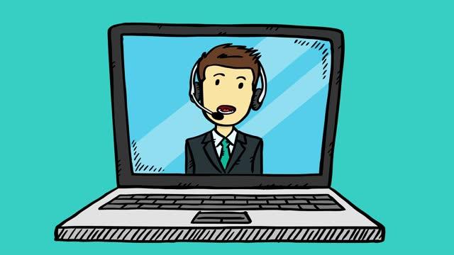 vídeos de stock, filmes e b-roll de estilo desenho animado, animação colorida do homem de suporte ao atendimento ao cliente, que aparece na tela do notebook. - costumer
