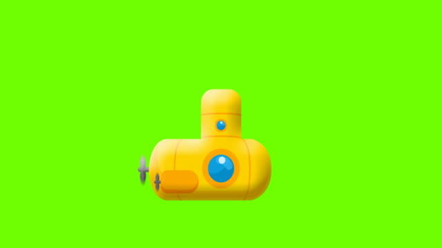 cartoon submarine on greenscreen - under the sea fish video stock e b–roll