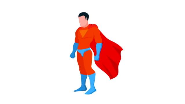 tecknad superhjälte med mantel animation - superhjälte isolated bildbanksvideor och videomaterial från bakom kulisserna