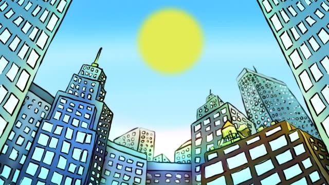 Cartoon Timelapse of city buildings