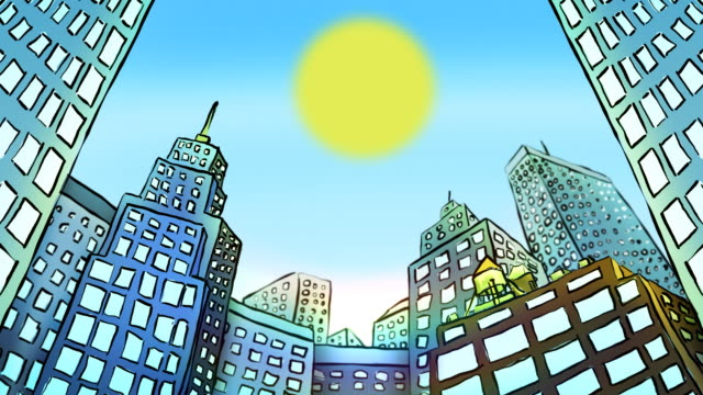 Cartoon Timelapse of city buildings​ video