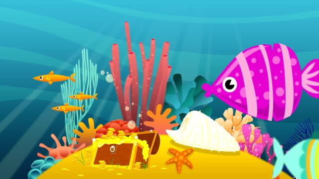 cartoon underwater - under the sea fish video stock e b–roll